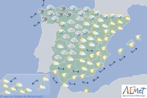 Hoy en España, chubascos fuertes en Galicia y Asturias