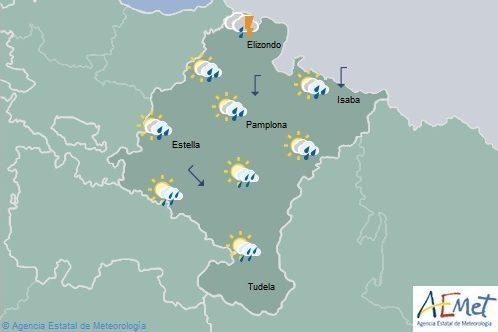 En Navarra chubascos y tormentas en el norte, temperaturas máximas en acusado descenso