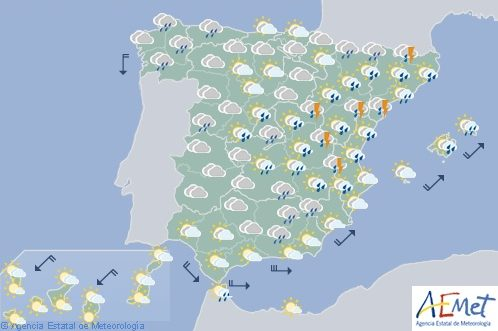 Hoy chubascos y tormentas fuertes en gran parte de España
