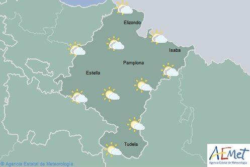 Cielo nuboso e intervalos nubosos, lluvias débiles en el norte y oeste de Navarra