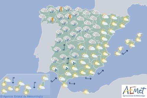 Las lluvias serán hoy fuertes en el noroeste de España
