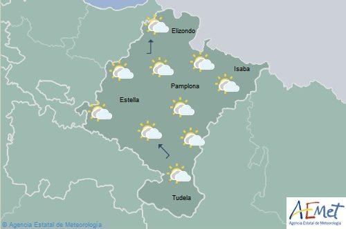 En Navarra nubosidad de tipo medio, temperaturas máximas sin cambios