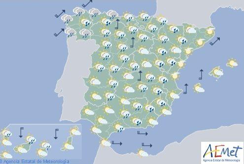 Hoy en España precipitaciones en el noroeste, País Vasco, Navarra, Aragón y sistema Ibérico