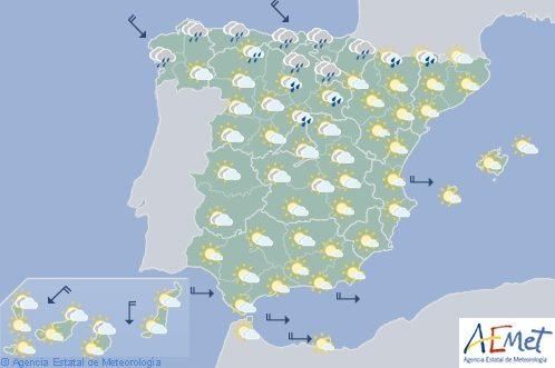 Hoy en España, tormentas en el Cantábrico y el noreste con temperaturas en descenso