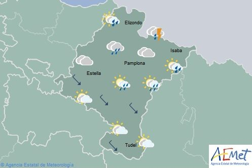 En Navarra nubosidad de evolución con chubascos dispersos y probabilidad de tormentas