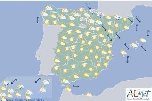 El tiempo estable predominará hoy en la mayor parte de España