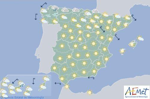 Cielos despejados y subida de temperaturas para hoy en casi todo España