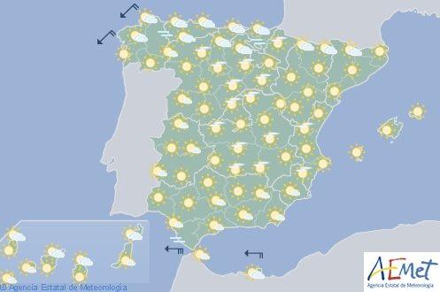 Hoy en España, posibles chubascos en Extremadura, sistema central y Cantábrico