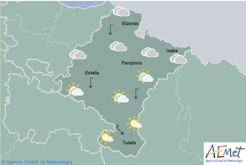 En Navarra intervalos de nubes bajas en el norte, temperaturas máximas en descenso