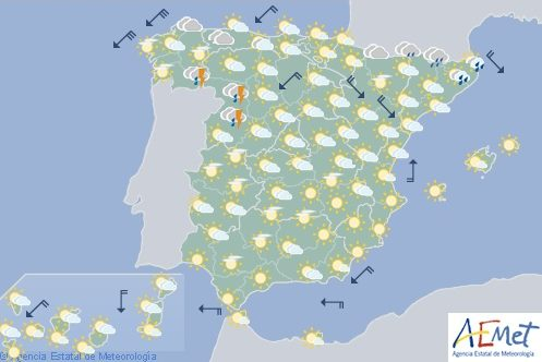 Temperaturas altas en el nordeste de España con tormentas en el sureste de Galicia y oeste de Castilla-León