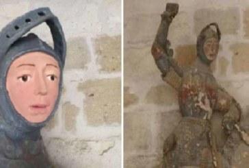 Restauran en Estella talla de San Jorge que comparan con Ecce Homo de Borja