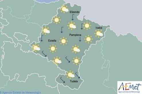 En Navarra poco nuboso o despejado, temperaturas con pocos cambios
