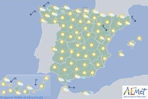 En España temperaturas altas en el sur de Cataluña, Castilla-La Mancha y Gran Canaria