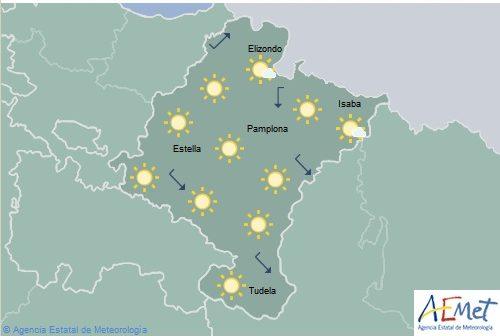 Despejado en Navarra con temperaturas sin cambios