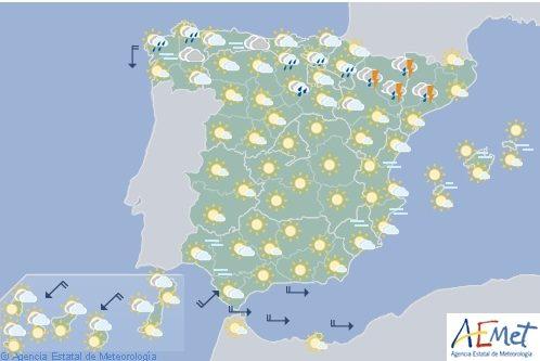 Hoy en España, precipitaciones y tormentas en el norte