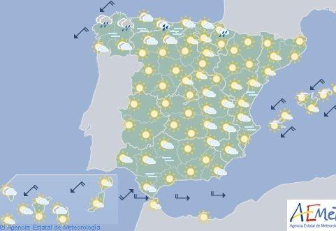 Hoy en España, chubascos y tormentas fuertes en el Cantábrico orientaly alto Ebro