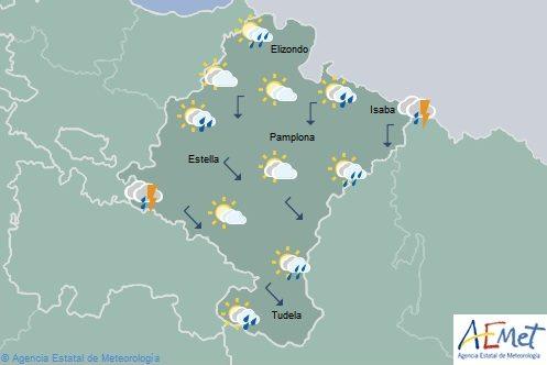 En Navarra lluvias débiles en el tercio norte con temperaturas máximas en descenso