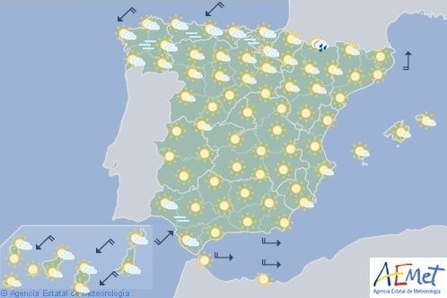 Hoy en España, chubascos y tormentas en Galicia y Cordillera Cantábrica occidental