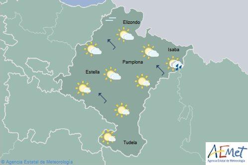 En Navarra poco nuboso o despejado, temperaturas máximas en descenso