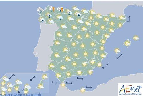 Hoy en España, probables chubascos y tormentas en gran parte del extremo norte