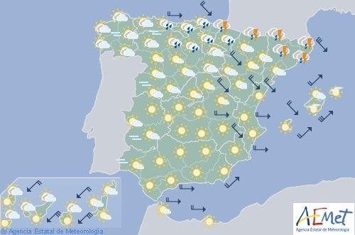 Hoy en España chubascos y tormentas en el Cantábrico Oriental y Cataluña