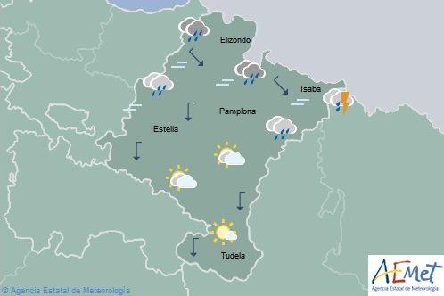 Chubascos y tormentas en el tercio norte de Navarra, descenso notable de temperaturas