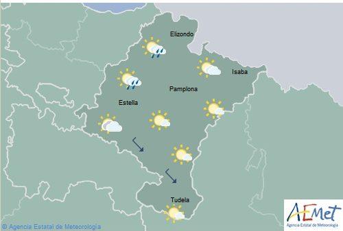 Lluvias débiles y chubascos dispersos en los extremos norte de Navarra