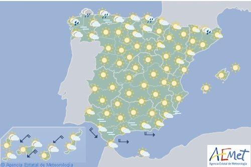 Hoy en España, tormentas en los Pirineos con temperaturas altas en el tercio oriental