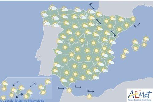 Hoy en España, temperaturas significativamente altas en el Valle del Ebro y mitad este