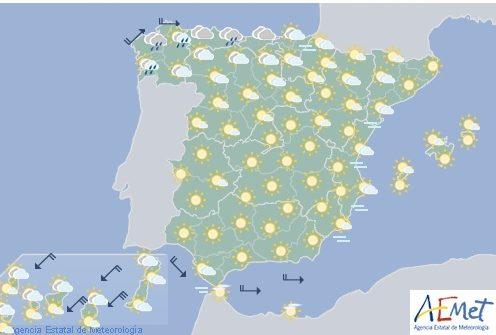Hoy en España temperaturas altas en el interior, chubascos ocasionales en el Cantábrico