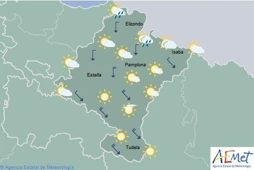 En Navarra lluvias y chubascos en la Vertiente Cantábrica, temperaturas en notable descenso