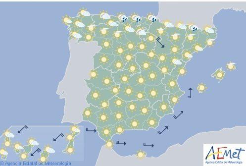 Hoy en España, soleado salvo en el norte y temperaturas muy altas