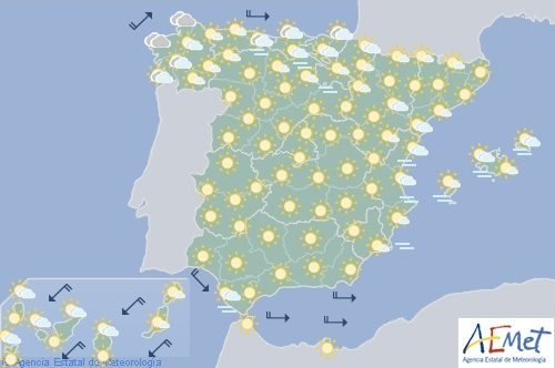 Hoy en España temperaturas significativamente altas en el tercio este