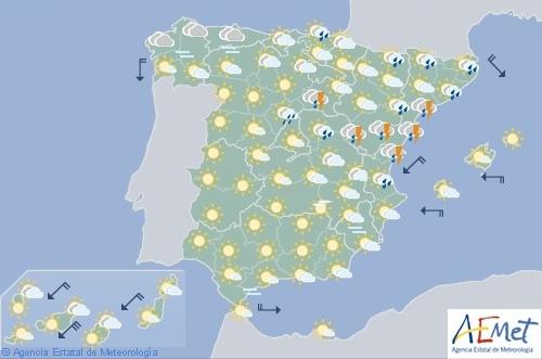 Hoy en España, chubascos o tormentas fuertes en el noreste
