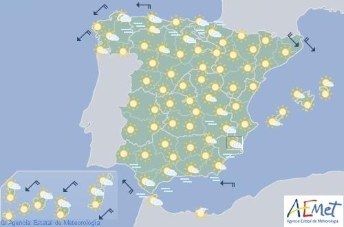 Hoy en España, tiempo estable sin precipitaciones