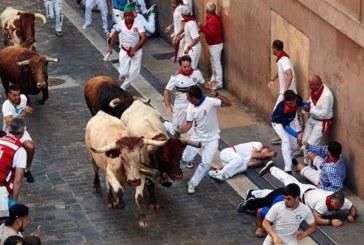 Tercer Encierro veloz y emocionante de los Cebada Gago, con caídas de toros y mozos