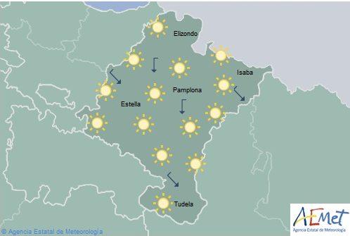 Cielo despejado en Navarra con temperaturas máximas en aumento hasta 38º