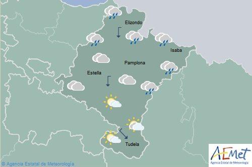 En Navarra cielo nuboso, tormentas y chubascos, menos en el sureste