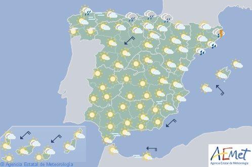 Hoy en España, fuertes tormentas en el área cantábrica y extremo oriental peninsular