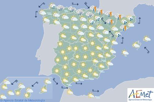 Hoy en España tormentas en Aragón, Cataluña, Cantábrico Oriental y Navarra
