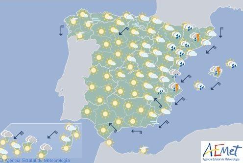 Hoy en España, precipitaciones fuertes y descenso de temperaturas en Valencia