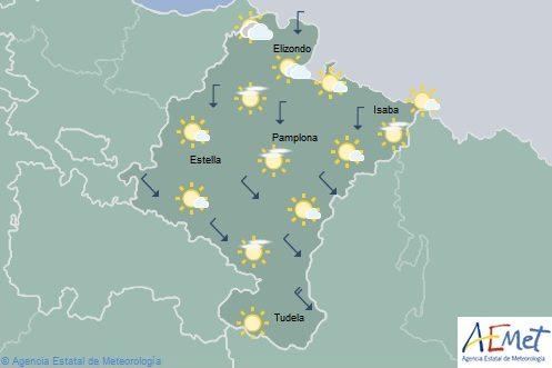 En Navarra cielo poco nuboso o despejado con máximas en aumento