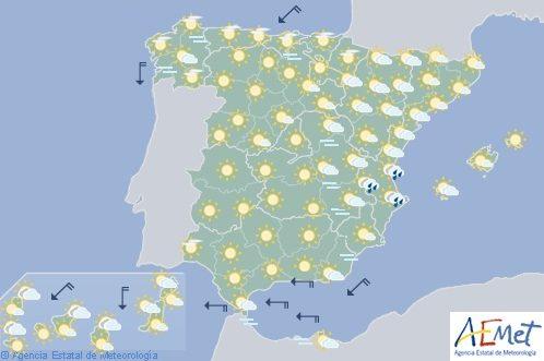Hoy en España, chubascos y tormentas en Pirineos y este de Sistema Ibérico