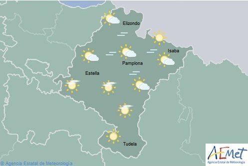 En Navarra cielo poco nuboso con chubascos ocasionales en Pirineos