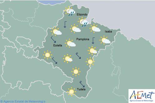 En Navarra nuboso tendiendo a despejado, lluvias débiles en el Pirineo