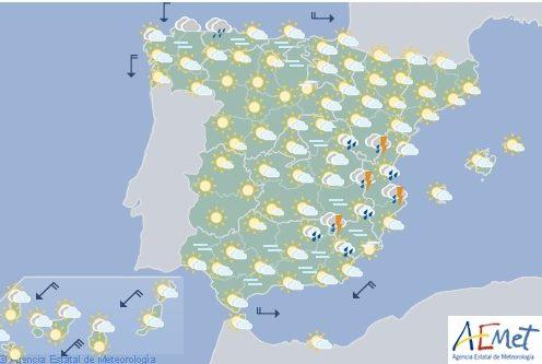 Hoy en España, fuertes tormentas y granizo en el tercio oriental
