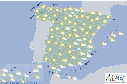 Hoy en España, levante fuerte con rachas muy fuertes en el área del Estrecho y sur de Cádiz