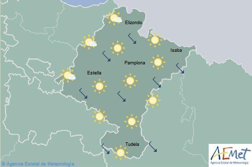 Cielo despejado en Navarra con temperaturas máximas en ascenso