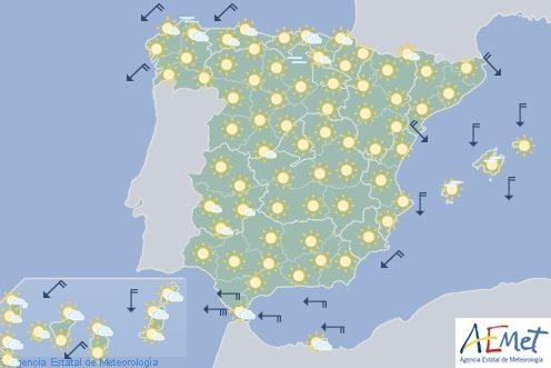 Tiempo estable con cielos poco nubosos o despejadosen la mayor parte de España