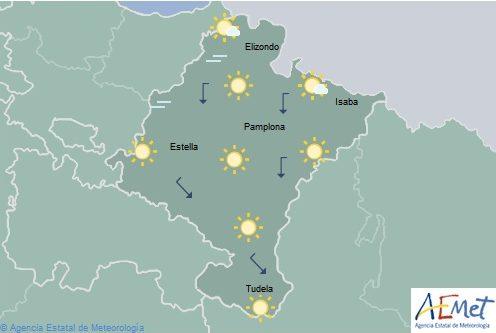 En Navarra cielo despejado con temperaturas mínimas en aumento